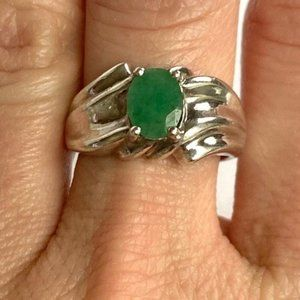 Sterling Silver Raw Faceted Emerald Ring Sz 7.75